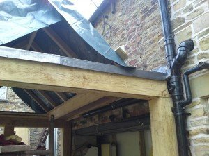 handmade oak conservatory lead work.