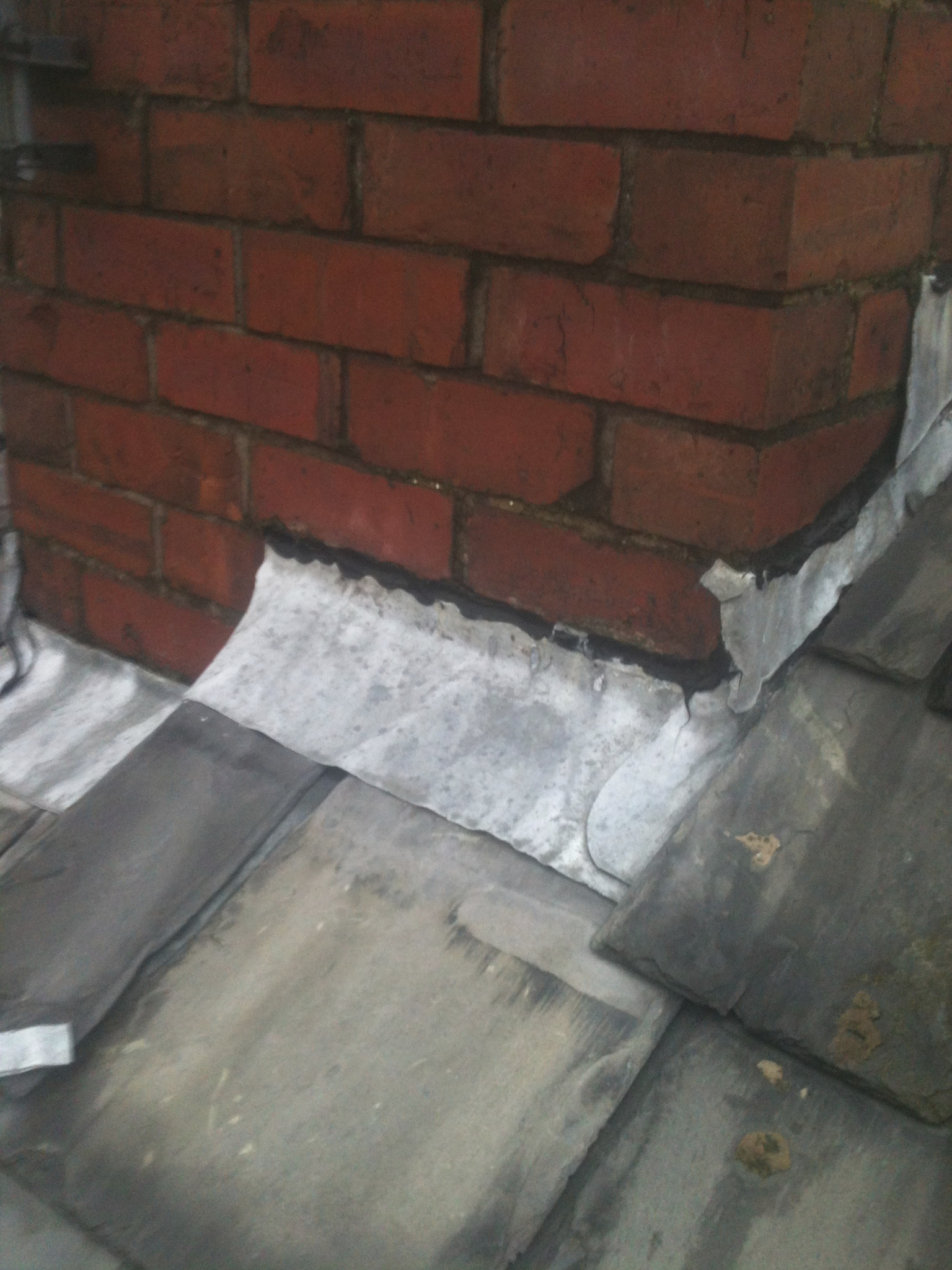 chimney was missing flashings so we replaced with new lead.